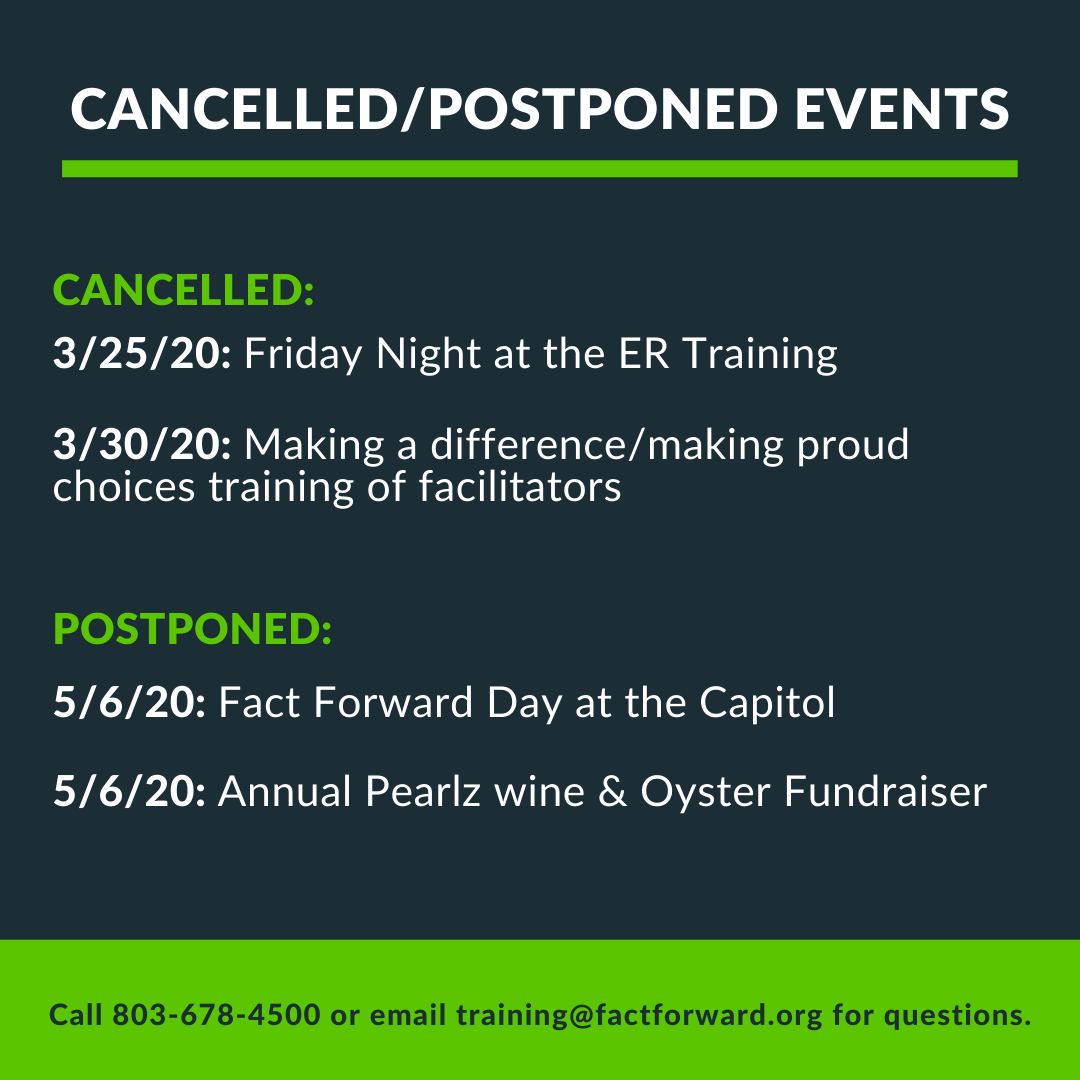 Friday Night at the ER (3/25/20)Cancelled and Making a Difference/Making Proud Choices training of facilitators (3/30/20) cancelled